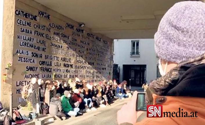 2020 yılında öldürülen 111 kadının ismi Paris duvarlarında