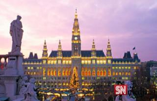 Göçmenler Viyana Belediye Meydanı'ndaki aşıları...